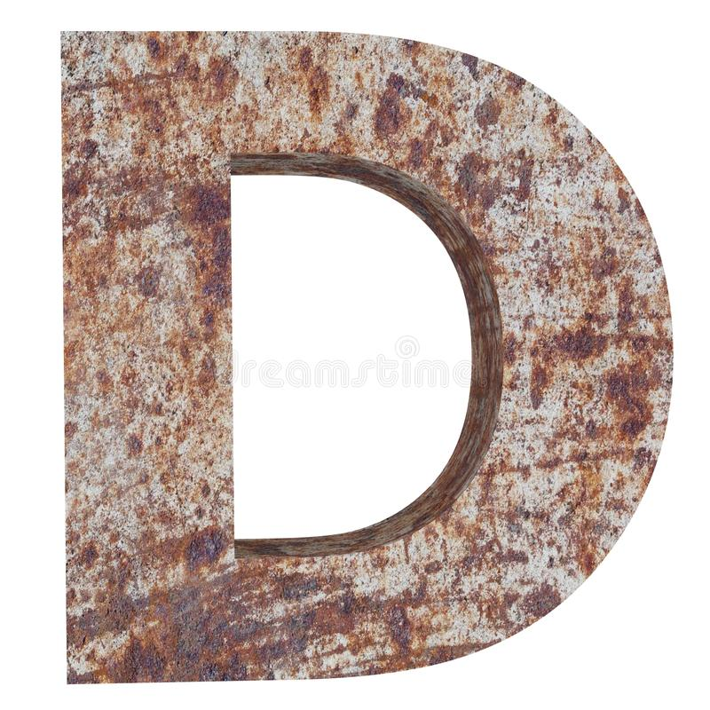 Conceptual old rusted meta capital letter -D, iron or steel industry piece isolated white background. Educative rusty material, aged vintage surface, worn stock illustration