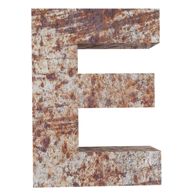 Conceptual old rusted meta capital letter -E, iron or steel industry piece isolated white background. Educative rusty material, aged vintage surface, worn vector illustration