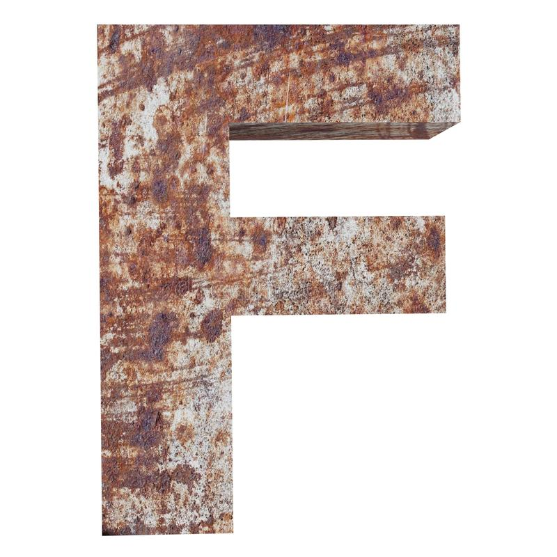 Conceptual old rusted meta capital letter -F, iron or steel industry piece isolated white background. Educative rusty material, aged vintage surface, worn royalty free illustration