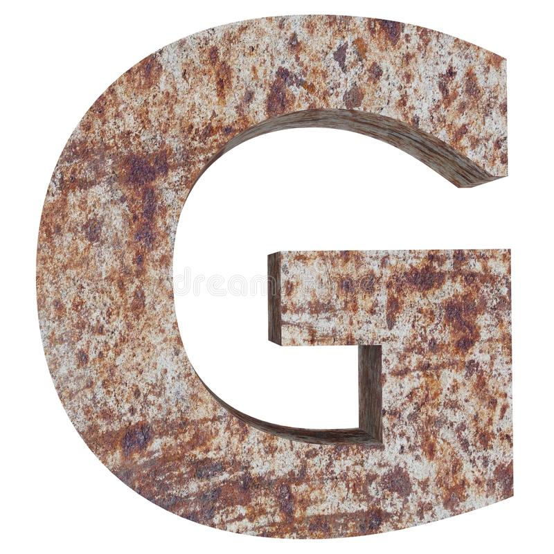 Conceptual old rusted meta capital letter -G, iron or steel industry piece isolated white background. Educative rusty material, aged vintage surface, worn stock illustration