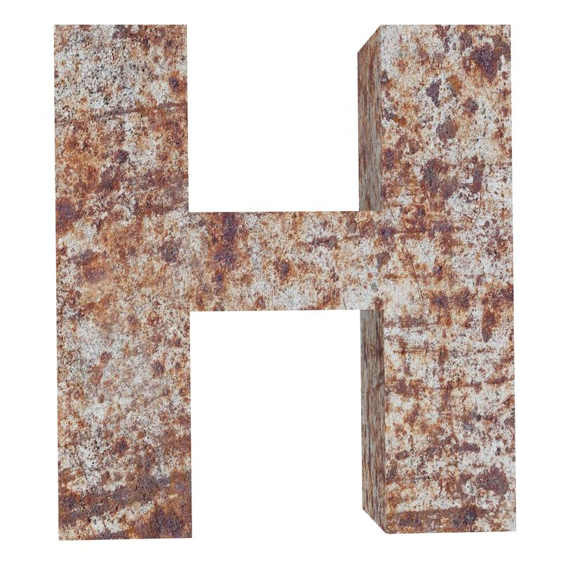 Conceptual old rusted meta capital letter -H, iron or steel industry piece isolated white background. Educative rusty material, aged vintage surface, worn vector illustration