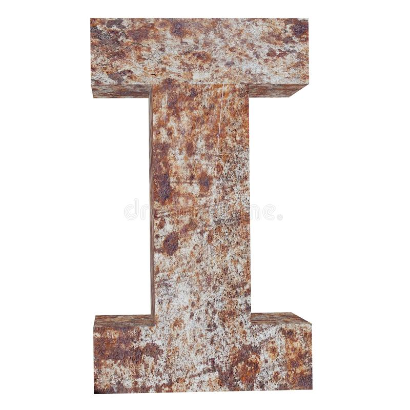 Conceptual old rusted meta capital letter -I, iron or steel industry piece isolated white background. Educative rusty material, aged vintage surface, worn stock illustration