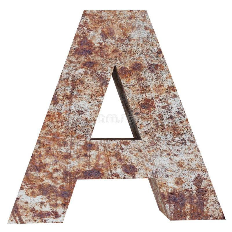 Conceptual old rusted meta capital letter -A, iron or steel industry piece isolated white background. Educative rusty material, aged vintage surface, worn royalty free illustration