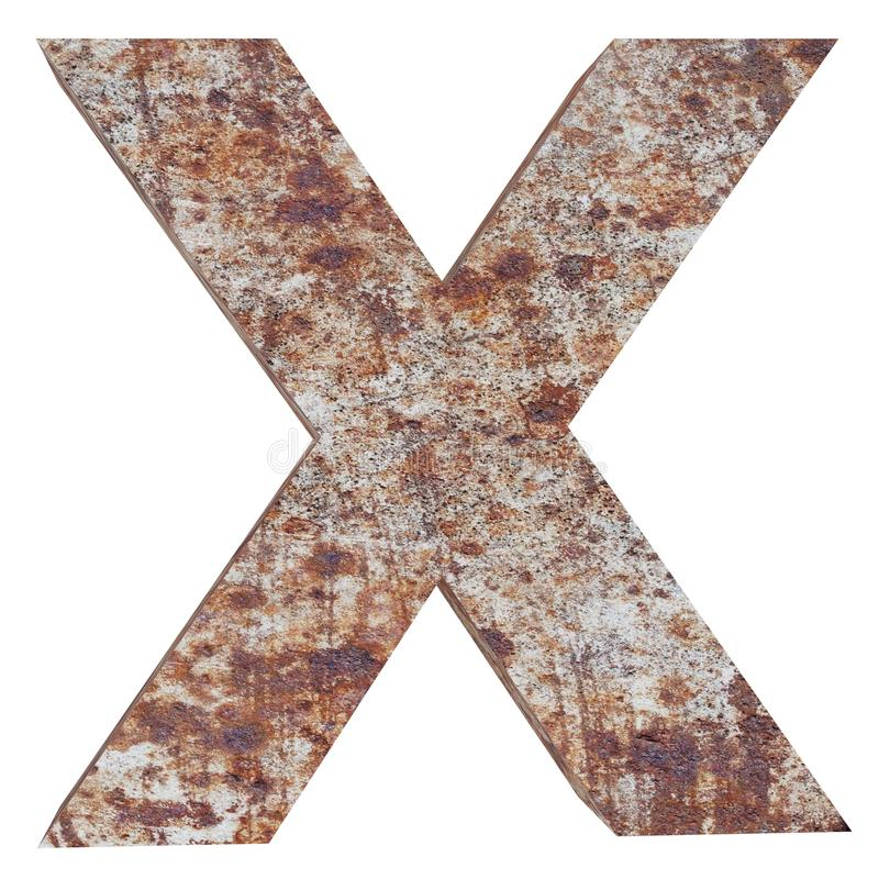 Conceptual old rusted meta capital letter -X, iron or steel industry piece isolated white background. Educative rusty material, ag. Ed vintage surface, worn stock illustration