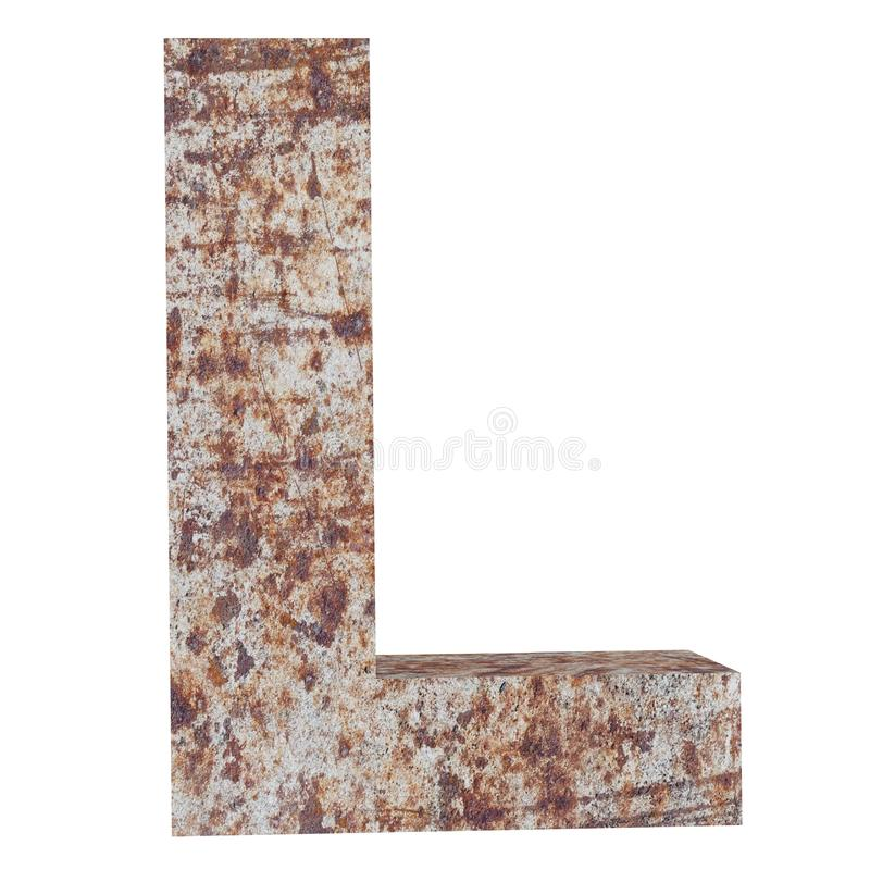 Conceptual old rusted meta capital letter -L, iron or steel industry piece isolated white background. Educative rusty material, aged vintage surface, worn stock illustration