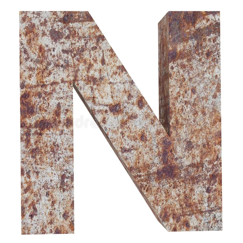 Conceptual old rusted meta capital letter -N, iron or steel industry piece isolated white background. Educative rusty material, aged vintage surface, worn vector illustration