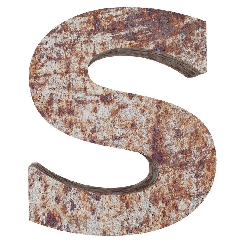 Conceptual old rusted meta capital letter -S, iron or steel industry piece isolated white background. Educative rusty material, ag. Ed vintage surface, worn vector illustration