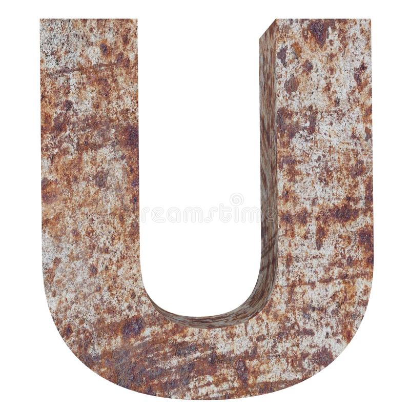 Conceptual old rusted meta capital letter -U, iron or steel industry piece isolated white background. Educative rusty material, ag. Ed vintage surface, worn stock illustration