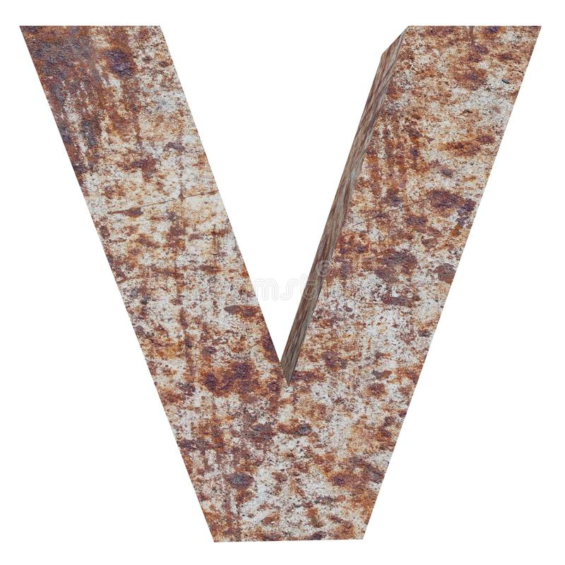 Conceptual old rusted meta capital letter -V, iron or steel industry piece isolated white background. Educative rusty material, ag. Ed vintage surface, worn royalty free illustration