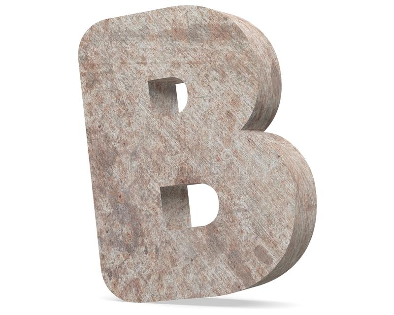 Conceptual old rusted metal capital letter -B, iron or steel industry piece isolated white background. Educative rusty material, aged vintage surface, worn vector illustration