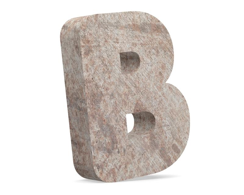 Conceptual old rusted metal capital letter -B, iron or steel industry piece isolated white background. Educative rusty material, aged vintage surface, worn stock illustration