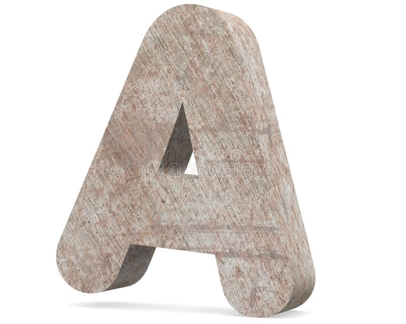 Conceptual old rusted metal capital letter -A, iron or steel industry piece isolated white background. Educative rusty material, aged vintage surface, worn stock illustration