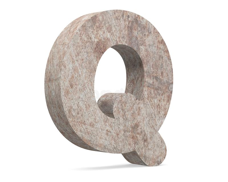 Conceptual old rusted metal capital letter -Q, iron or steel industry piece isolated white background. Educative rusty material, aged vintage surface, worn vector illustration