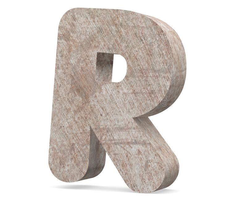Conceptual old rusted metal capital letter -R, iron or steel industry piece isolated white background. Educative rusty material, aged vintage surface, worn royalty free illustration
