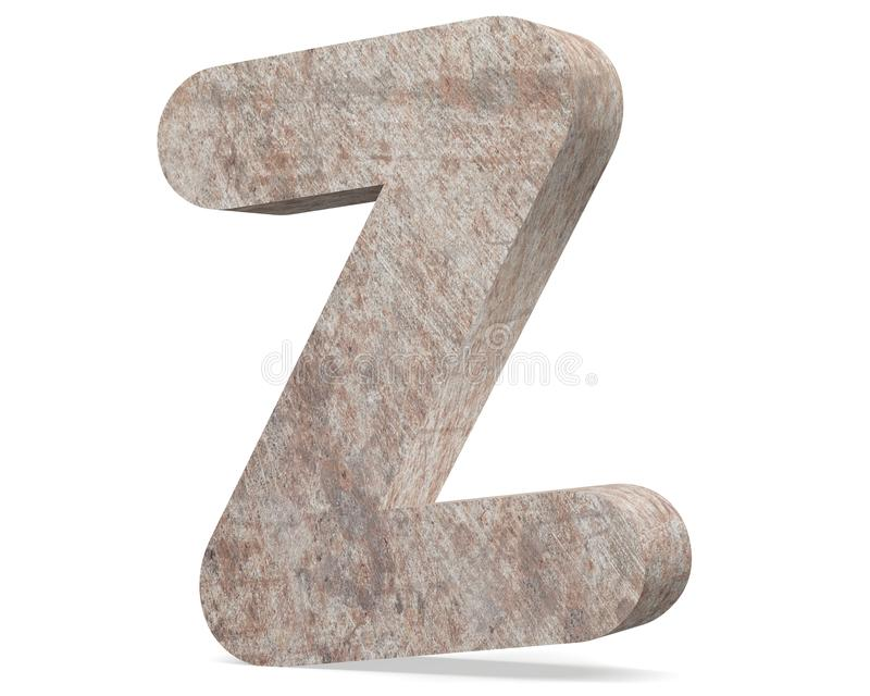 Conceptual old rusted metal capital letter -Z, iron or steel industry piece isolated white background. Educative rusty material, aged vintage surface, worn stock illustration