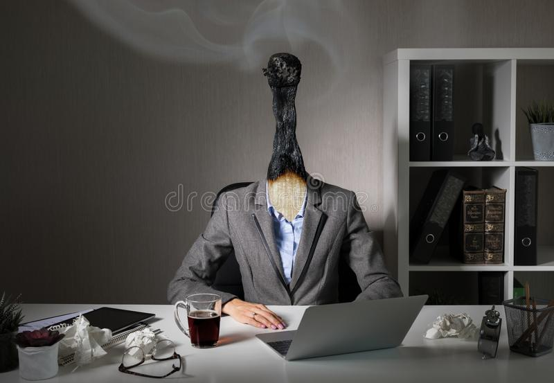 Conceptual photo illustrating burnout syndrome at work royalty free stock photography