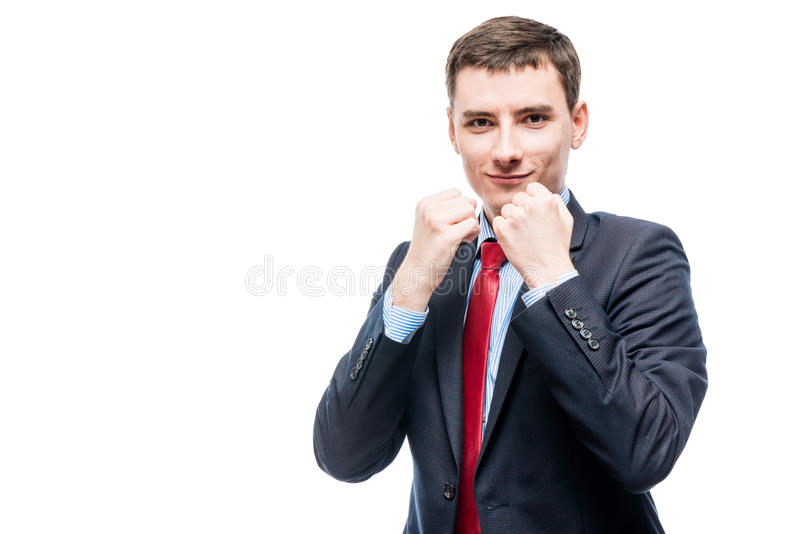 Conceptual photograph of a successful businessman ready royalty free stock images