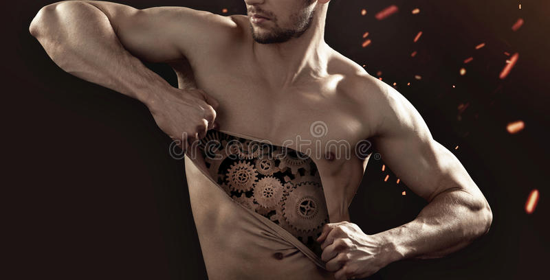 Conceptual picture of the human robot. Conceptual image of the human robot stock image