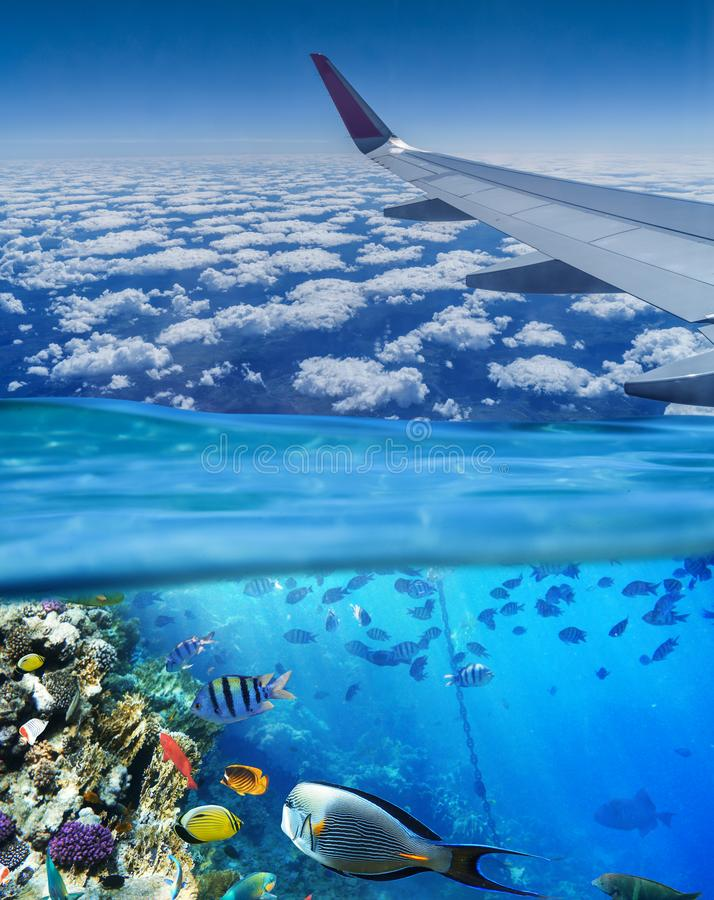 Conceptual picture. Sky and sea. Vacation.  stock photos