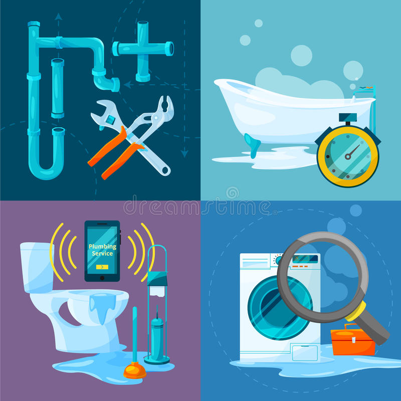 Conceptual pictures set of plumbing works. Bathroom and kitchen pipes and other specific acessories vector illustration