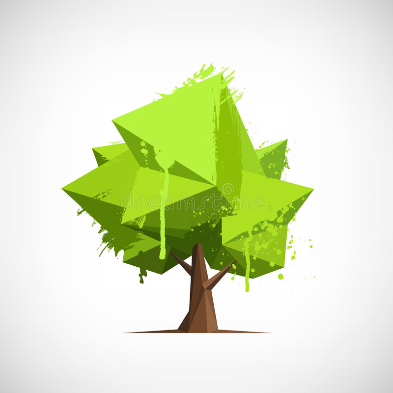 Conceptual polygonal tree with paint splashes royalty free illustration