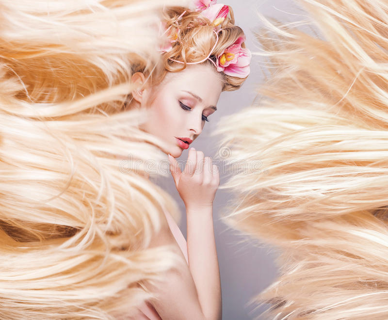 Conceptual portrait of a delicate lady with a fluffy coiffure royalty free stock photo