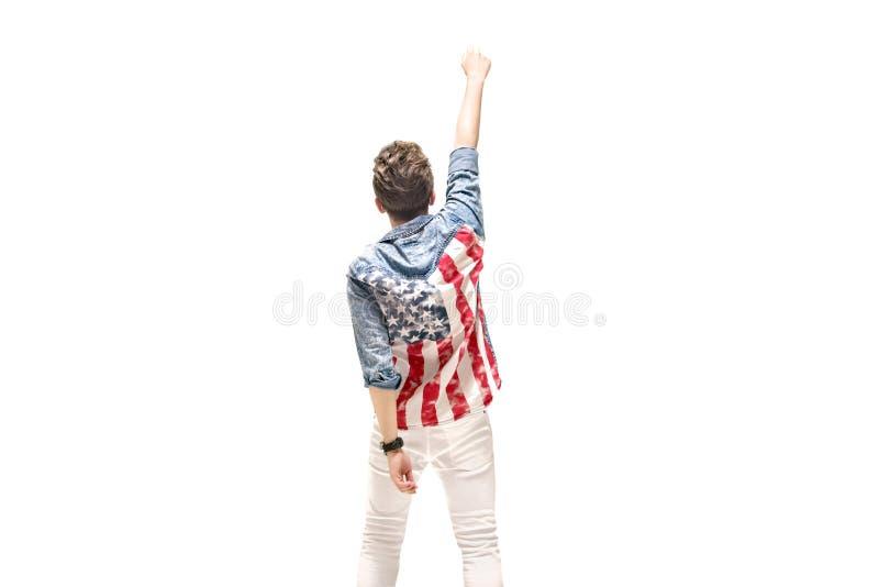 Conceptual portrait of a patriotic man stock photography