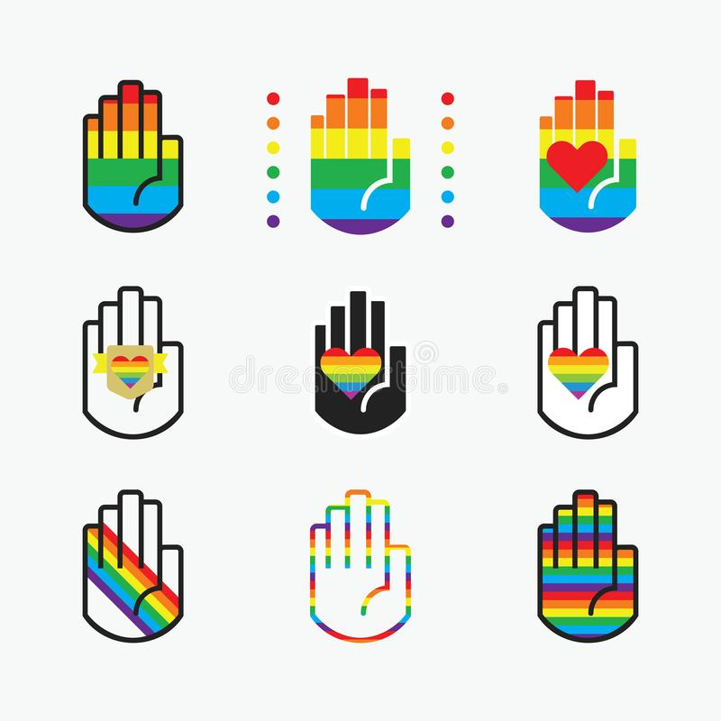 Conceptual pride rainbow color hands icons with hearts icons set on off white. Background vector illustration