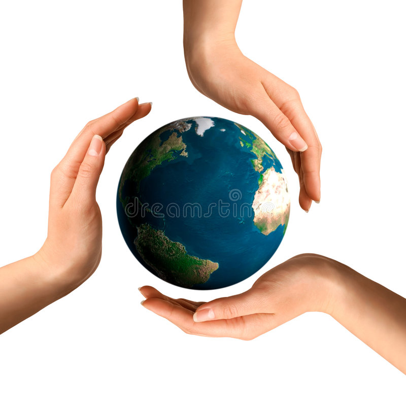 Conceptual Recycling Symbol. Made from hands over Earth globe Environment and ecology concept stock photos