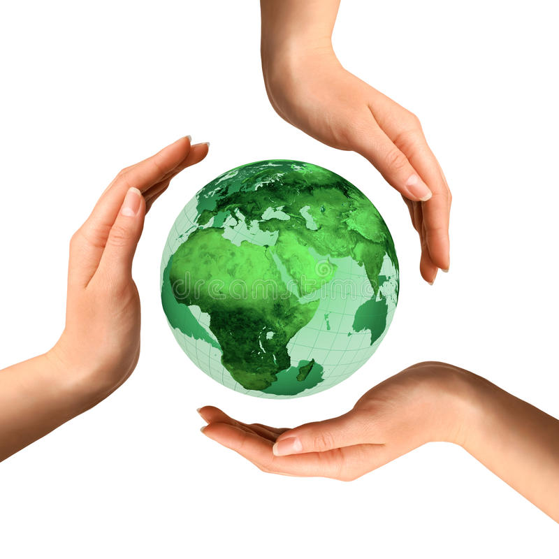 Conceptual Recycling Symbol over Earth Globe. Conceptual recycling symbol made from hands over Earth globe Environment and ecology concept royalty free stock image