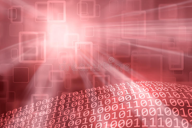 Conceptual red colored binary numbers abstract background stock photo