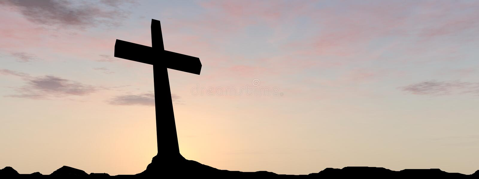 Conceptual religion cross with a man at sunset royalty free stock images