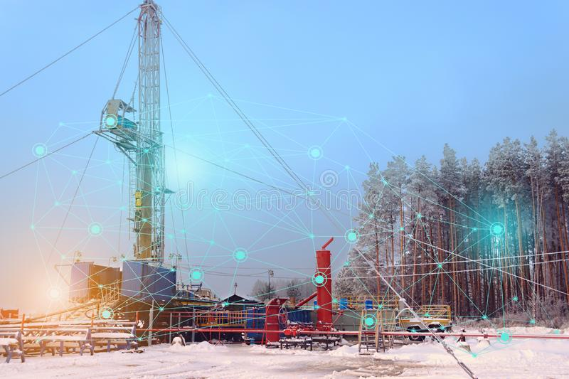 Conceptual representation of the future technologies, the use of artificial intelligence for the overhaul of an oil and gas well, stock photo