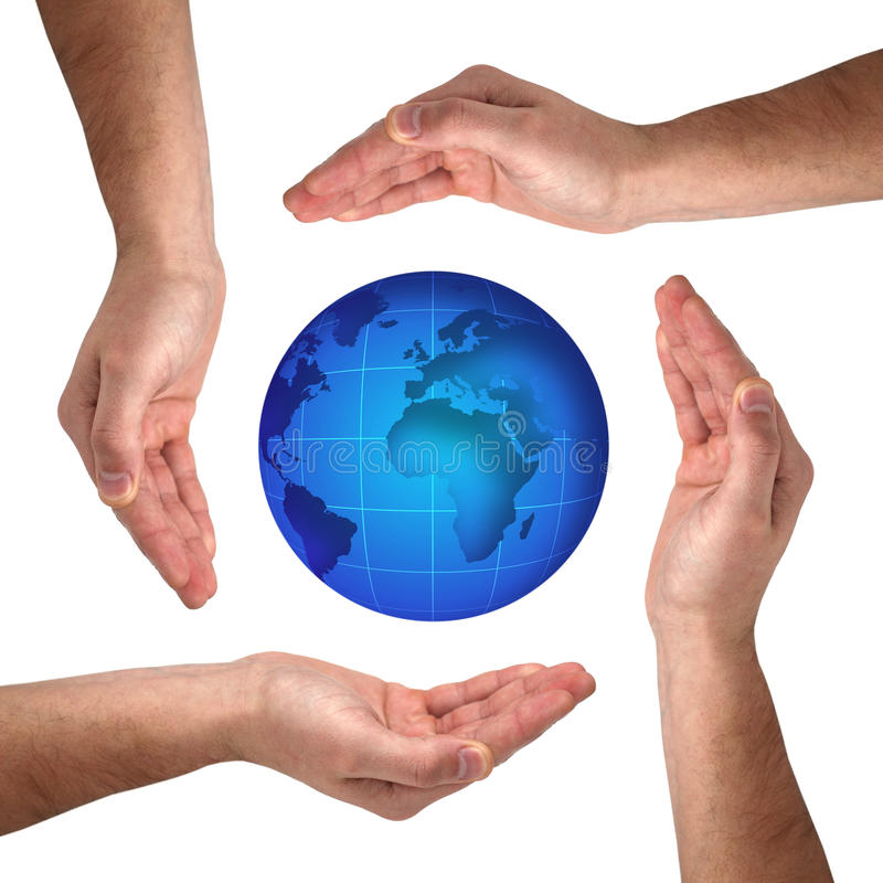 Conceptual safety symbol. Made from hands over globe royalty free stock photos