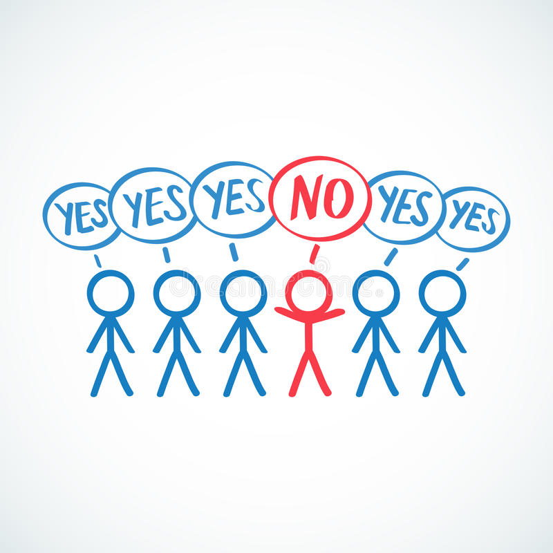 Conceptual: Stick figures saying YES, one saying N stock illustration