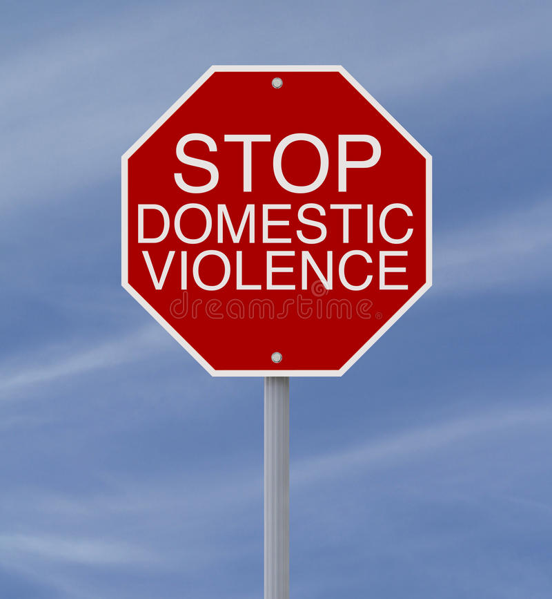 Stop Domestic Violence. Conceptual stop sign on domestic violence or abuse stock image