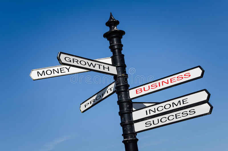Conceptual Street Signs about Business. Conceptual Street Signs against Blue Sky with Business Related Words on Them royalty free stock photo