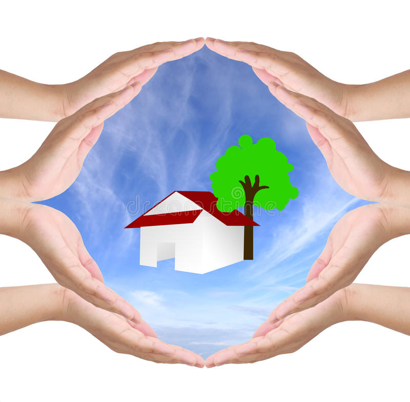 Conceptual symbol of eight human hands. Making a circle on white background with a copy space house on the sky at the centre stock image