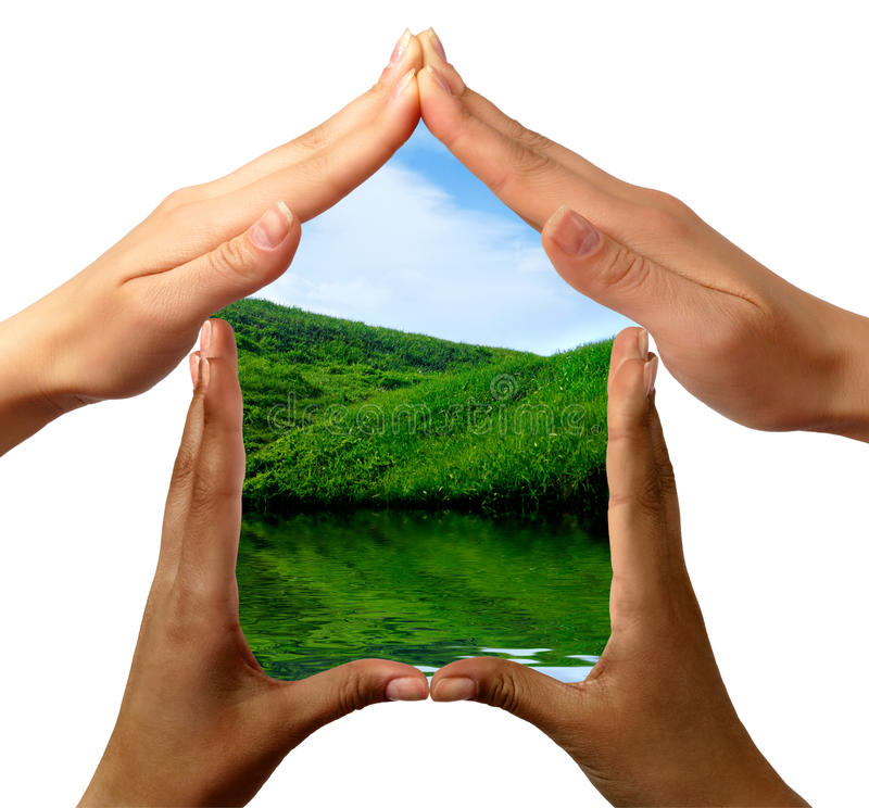 Conceptual Symbol Home Made by Hands. Conceptual symbol home made by black and white people hands framing the nature scenery isolated on white background stock photography