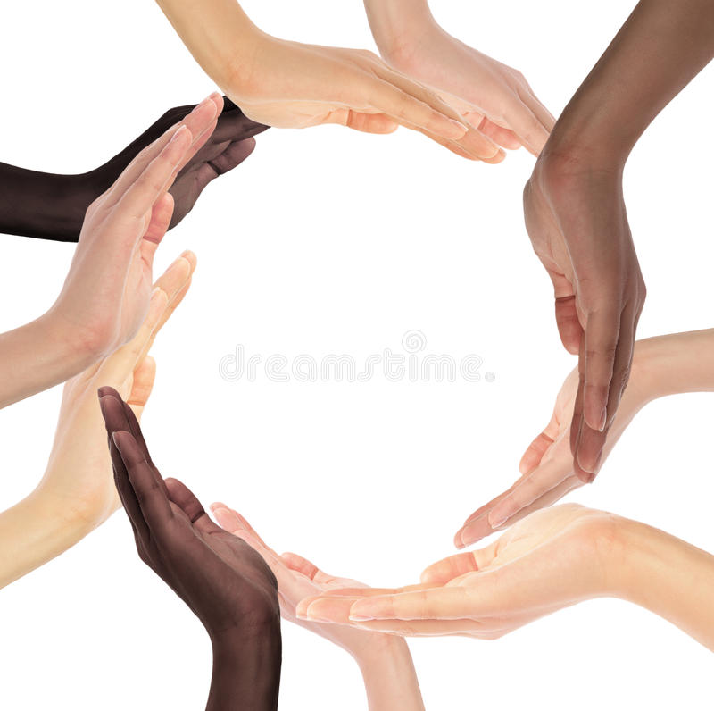 Conceptual symbol of multiracial human hands. Making a circle on white background with a copy space in the middle royalty free stock photo