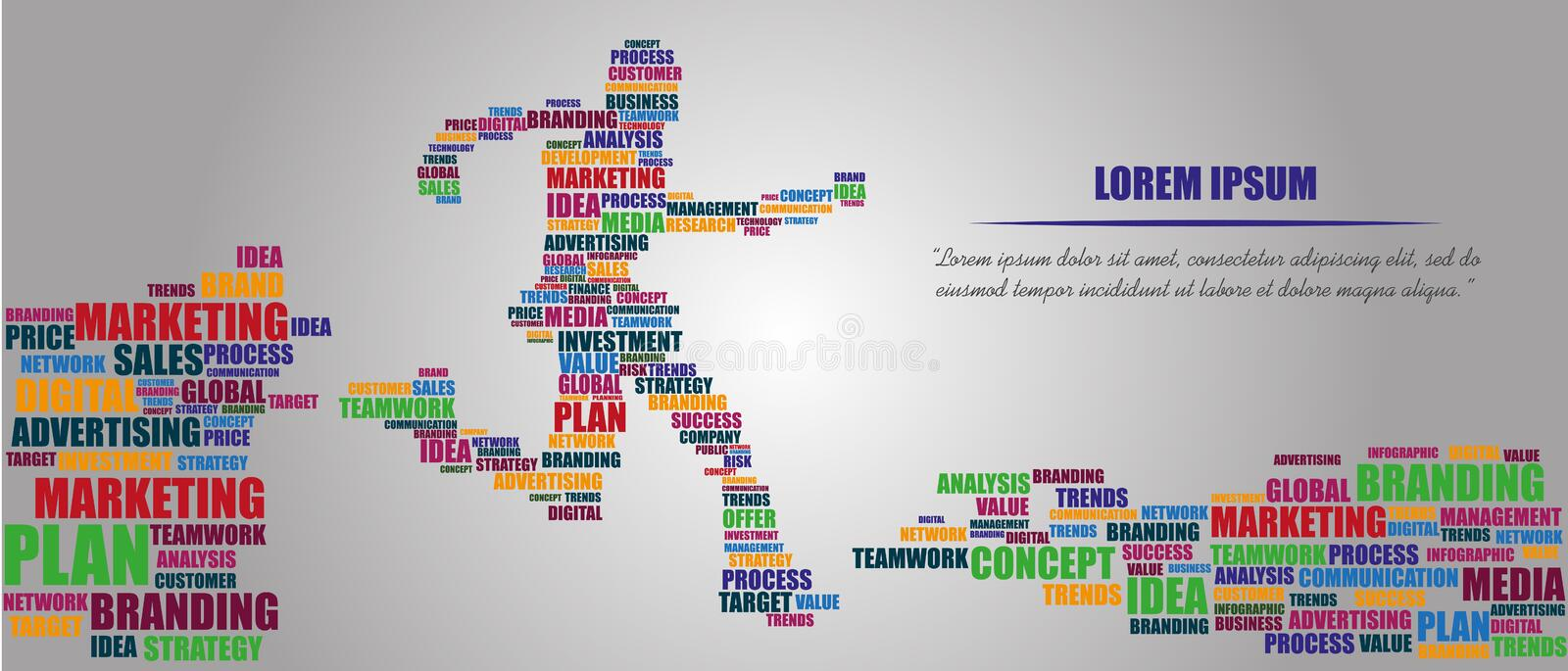 Conceptual tag cloud containing words related to marketing, business, advertising, social media, blogs. stock illustration