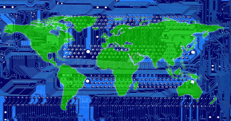 Conceptual technology image of computer circuit board and world. Map manipulation stock illustration