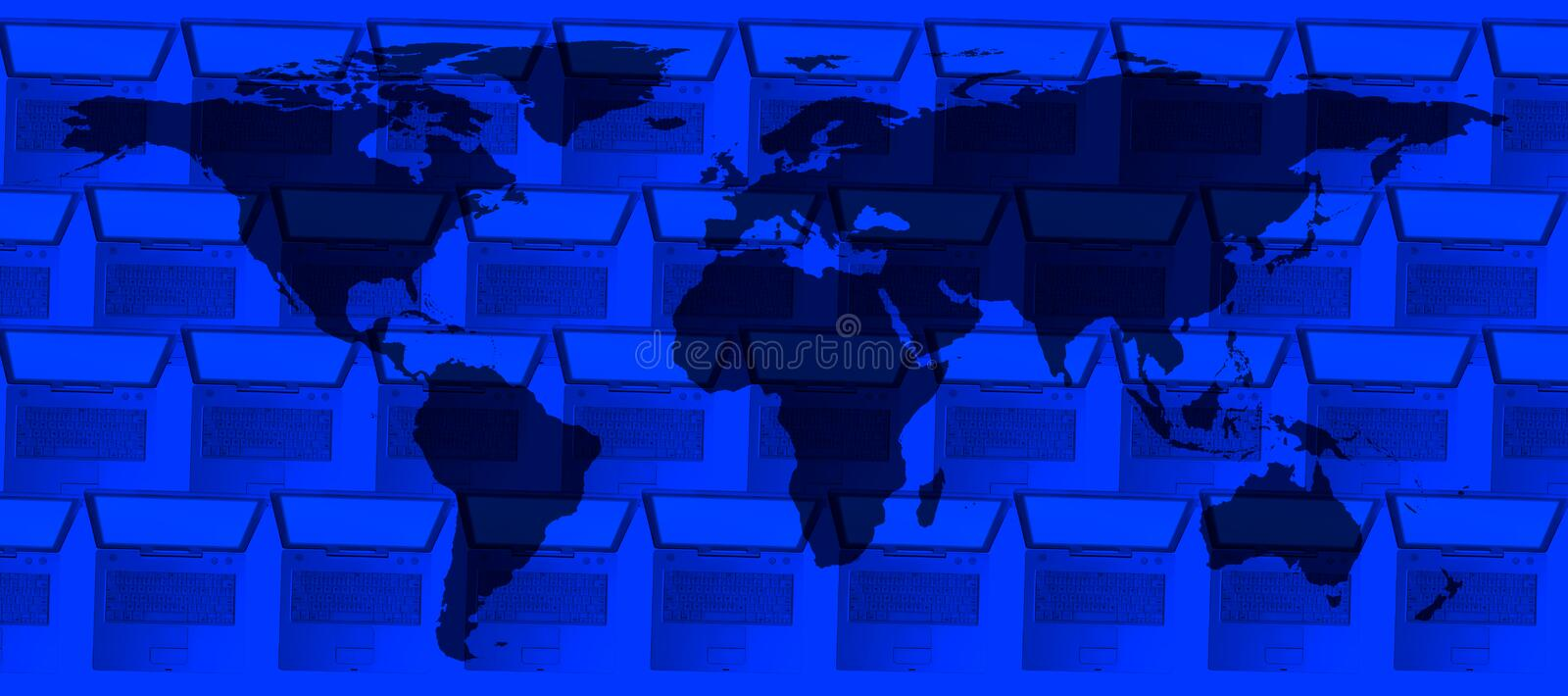 Conceptual technology image of computers and world stock image