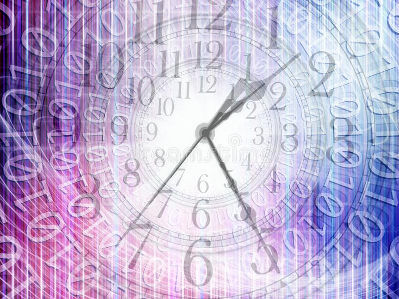 Conceptual technology and time image of binary code with clock a. Nd abstract lights stock image