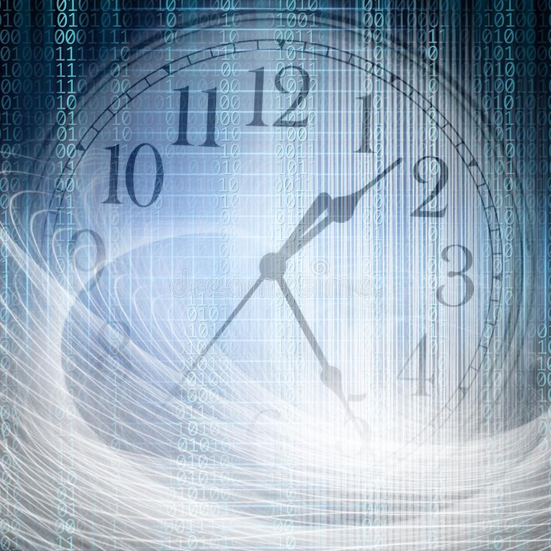 Conceptual technology and time image of binary code with clock a. Nd abstract lights royalty free stock photo