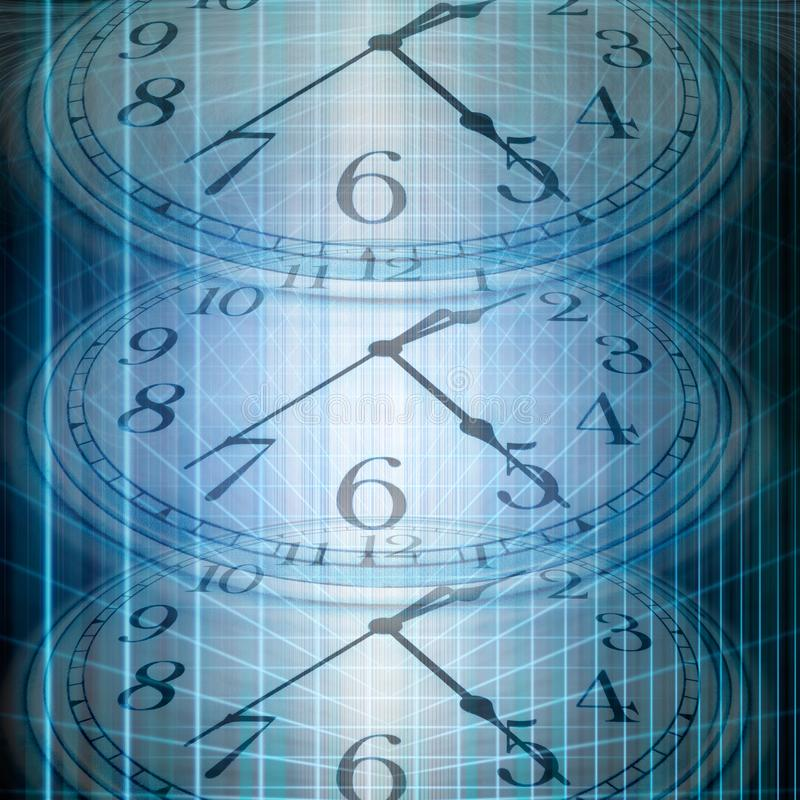 Conceptual technology and time image of clock and abstract light. S royalty free stock photo