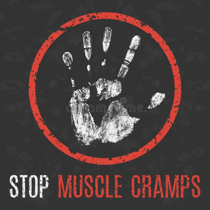 Conceptual vector illustration. Human sickness. Stop muscle cramps stock illustration