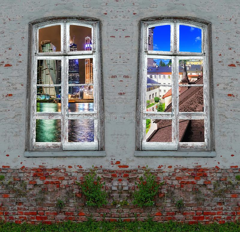 Conceptual view of modern skyscrapers and old castles from retro window in the middle of  abandoned brick wall. With growing green plants stock photo