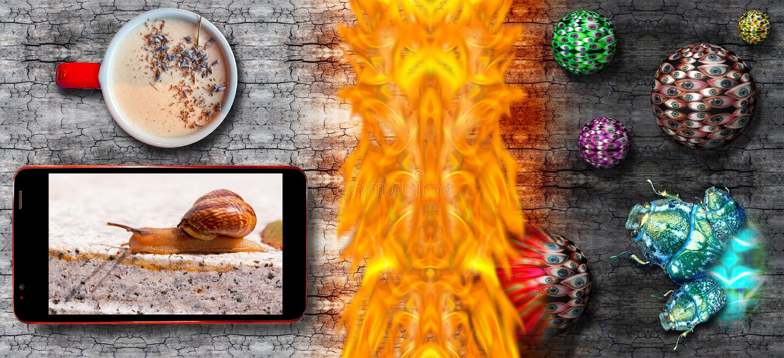 Smart phone with helix as symbol of slow Internet on screen and hot coffee mug defended by firewall from bug and viruses attack on royalty free stock photography