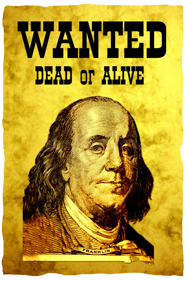Download Conceptual WANTED Poster. The Head Of USA 100 Dollars Bill- President Franklin Stock Image - Image: 1156171